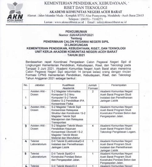 Pengumuman Penerimaan CPNS Unit Kerja AKN Aceh Barat Tahun 2021